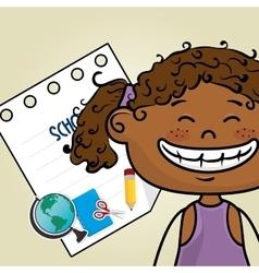 Girl cartoon school student icon vector