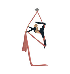 Girl is engaged in aerial acrobatics vector