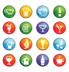 glasses and cups icon set vector image