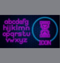 Glowing neon hourglass pixel with flowing sand vector