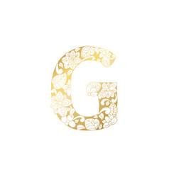 golden ornamental alphabet letter g font vector image
