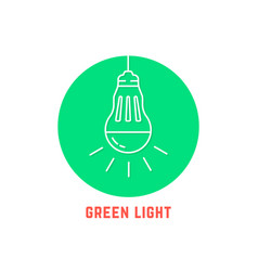green light thin line led bulb logo vector image