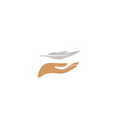 hand carrying a quill or plume for logo design vector image