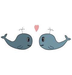Hand drawn a pair of whales vector