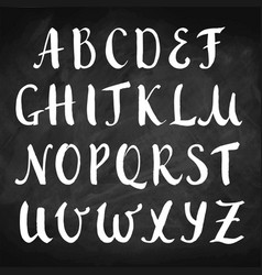 Hand drawn alphabet on chalkboard capitals vector