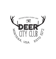 hand drawn deer vintage badge deer city club logo vector image vector image