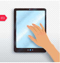 Hand with tablet vector