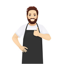 handsome man in apron vector image