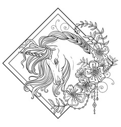 Head unicorn with flowers coloring for adult vector