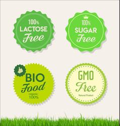 healthy natural food labels organic tags 2 vector image