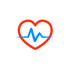Heart with a cardiogram logo for the clinic vector