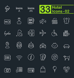 Hotel services travel and vacation outline icons vector