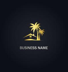 House resort palm tree tropic gold logo vector