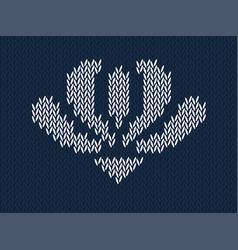 Jacquard knitted pattern with white flower on blue vector