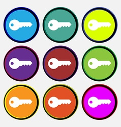 key icon sign Nine multi colored round buttons vector image