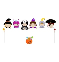 Kids in halloween costumes with blank placard vector
