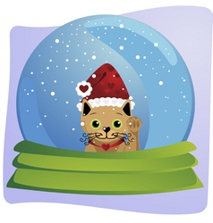 Kitten in a christmas globe vector