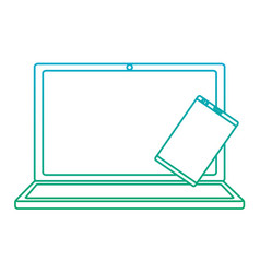 laptop computer with smartphone icon image vector image
