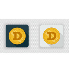 light and dark dogecoin crypto currency icon vector image