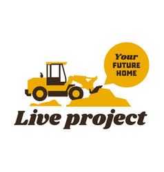 Logo front loader construction equipment at work vector