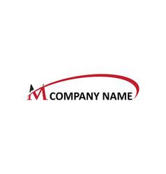 M letter swoosh logo vector