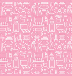 Makeup beauty care pink white seamless pattern vector