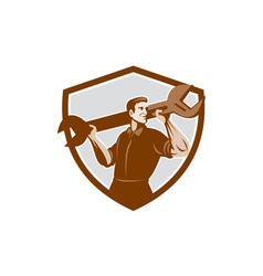 Mechanic Lifting Spanner Wrench Shield Retro vector