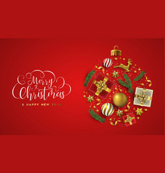 merry christmas card 3d gold xmas decoration vector image