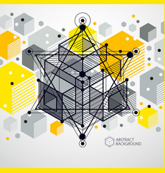 modern abstract cubic lattice lines yellow vector image