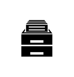 office drawer flat icon vector image