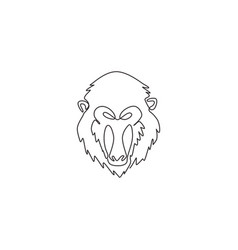One single line drawing exotic mandrill head vector