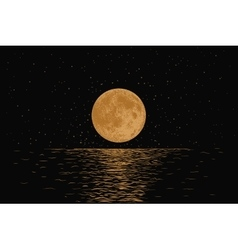 Orange moon reflecting in a sea vector