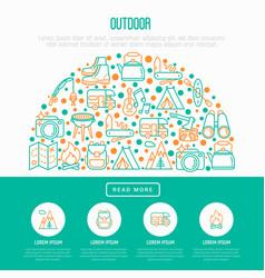 Outdoor concept in half circle vector