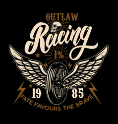 Outlaw racing racer winged wheel design element vector