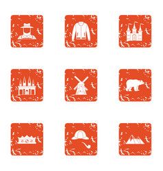 ownership icons set grunge style vector image