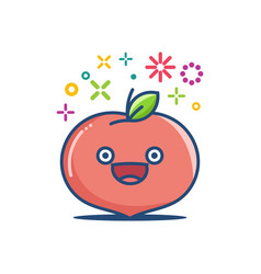 peach kawaii emoticon cartoon vector image