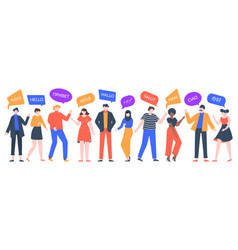 people say hi group multiethnic men and women vector image