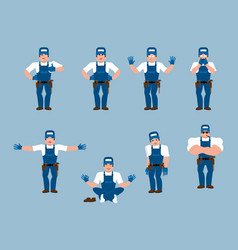 plumber set poses and motion fitter happy and vector image