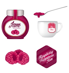 Raspberry jam and a cup of tea vector image