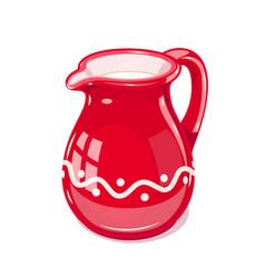 Red ceramic jug with milk vector