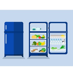 Refrigerator with the door closed and open vector