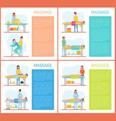 Relaxing stretching muscles massage physiotherapy vector