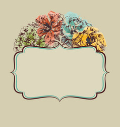 retro colorful floral frame vector image