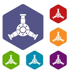 Round mechanic detail icons set hexagon vector