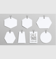 sale tags blank white empty shopping vector image