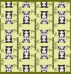 seamless pattern panda painted in childrens style vector image
