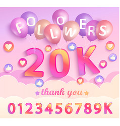 Set numbers for thank you followers design vector