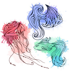 Set of doodle marine fish and jellyfish decorated vector