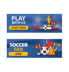 set of football horizontal banners on blue vector image