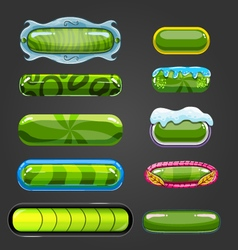 Set of green button for game design vector